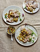 Shoulder of lamb with gremolata made from smoked almonds and salted lemons (low carb)
