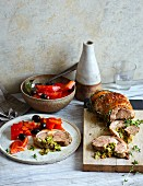 Braised roast turkey roll with peperonata