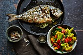 Oven-baked sea bream with curried vegetables (low carb)