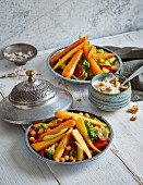 Saffron and vegetable tajine with walnut yoghurt (low carb)