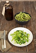 Broccoli and snow pea salad with edamame