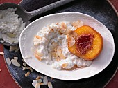 Sweet risotto with grilled peach