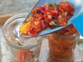 Grilled tomato chutney with basil and oranges