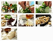 How to make a lamb's lettuce salad with sliced ​​goat's cheese, walnuts, dried cherries, and a vinaigrette