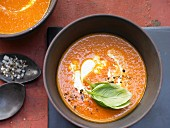 Tomato and basil soup with yoghurt