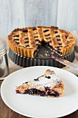 Linzer torte, a piece on server