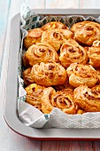 Puff pastry swirls with sheep's cheese