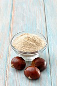 Chestnut flour in a small glass bowl