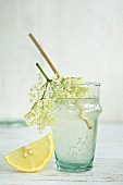 An elderflower drink in a glass with a straw, elderflowers and a wedge of lemon