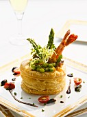 Asparagus and prawn vol-au-vent