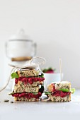 Sandwiches with beetroot and salad to take away