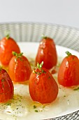 Tomatoes with transparent gazpacho gleatin