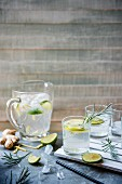 Homemade fresh ginger and lime fizz with ice