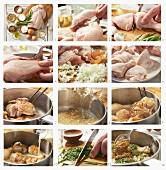 Geschmortes Hähnchen mit Senf und Estragon zubereiten