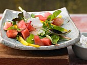 Salad bowl with watermelon, radish, peppers, coriander and cottage cheese