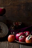 Red apples in a vintage setting with scales