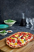 Roasted Tomato Pizza with a thin Olive Oil Cracker Crust