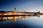 View from the Danube of the cathedral in Passau, Bavaria, Germany