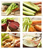 How to make juice with cucumber, celery, beetroot, carrot and ginger