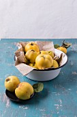 Quinces in an enamel bowl