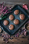 Chocolate cookies on a baking tray