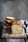 Muesli cake on wooden table