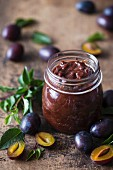Jar of homemade plum jam