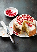 Pomegranate cake, cut into pieces