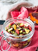 Healthy trail mix in small jar