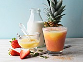 Strawberry and pineapple smoothie with milk