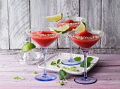 Non-alcoholic strawberry margaritas