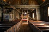 Interior view of a church in southern Sweden