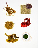 Various types of algae: sea spaghetti, nori, sea salad, dulse, wakame, chlorella