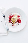Zander with beetroot noodles and a horseradish foam