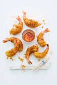 Curry tempura prawns with chilli dip