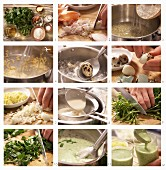 How to prepare watercress soup with quail eggs and walnut oil
