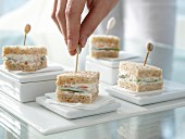 Cucumber sandwiches with salmon pate