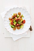 Chestnut gnocchi with brussels sprouts and chorizo