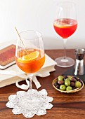 Aperol Spritz and Campari Spritz in glasses