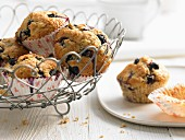 Blueberry and banana muffins with bran
