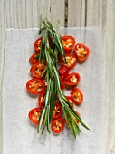 Chilli rings and fresh rosemary (top view)
