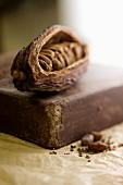 Cocoa beans and a slab of chocolate