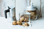 Quick and easy pine nut cookies in storage jars