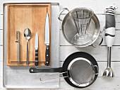 Kitchen utensils for making pumpkin soup