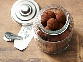 Lactose-free hazelnut pralines covered in cocoa