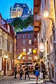 A side street with view of Château Frontenac in Quebec, Canada