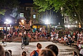 A unicyclist showing off his skills in Quebec, Canada