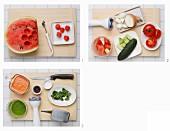 Wassermelonen-Gazpacho mit Basilikumpesto zubereiten