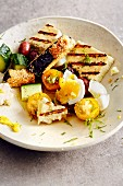 Greek salad with egg and grilled halloumi (soul food)