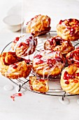 Crullers with lingonberries and sugar glaze (soul food)